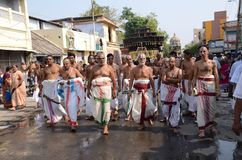 RELIGOUS CEREMONY AT SRIRANGAM. A religous hindu ceremony, which is performed yearly once at sri rangam devotes tamilnadu-india Royalty Free Stock Photography