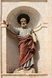 A religous statue at the church , Malta. A riligous statue set in the stonework of the church Stock Photography