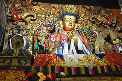"""Religous Statues in Drepung Monastery. Drepung Monastery (literally """"Rice Heap"""" monastery) located at the foot of Mount Gephel, is one of the great three Stock Photo"""