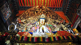 """Religous Statues in Drepung Monastery. Drepung Monastery (literally """"Rice Heap"""" monastery) located at the foot of Mount Gephel, is one of the great three Stock Photography"""