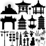 Reliquia asiática china de la capilla del templo stock de ilustración