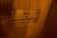 Reliquia della st Mary Magdalene Postel nella chiesa di San Nicola in Barfleur La Normandia, Francia immagine stock libera da diritti