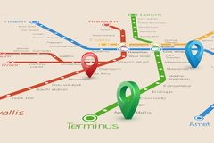 Relistic abstract blured map of subway routes in perspective vi vector illustration