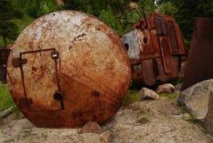 Relitti arrugginiti, adattati per il granaio sulla riva Fotografia Stock