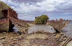 Relitti scafo acciaio della nave, isola del giardino, porto Adelaide, SA Fotografia Stock