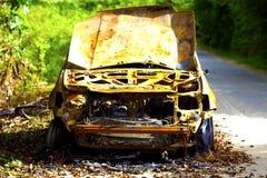 Relitto arancio dell'automobile Immagini Stock