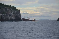 Relitto caraibico della nave vicino a St Vincent fotografia stock libera da diritti