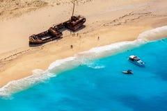 Relitto della nave sulla spiaggia di Navagio, Zacinto immagini stock