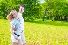 Rellationships Concept. Young Happy Caucasian Couple Together Outdoors Royalty Free Stock Photography
