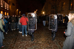 Rellen en Politie royalty-vrije stock foto's