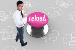 Reload against pink push button Stock Photos