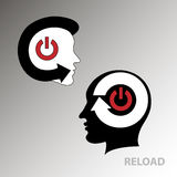 Reload button in the head Stock Photos