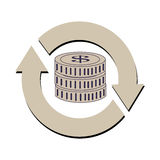 Reload symbol with stack coins Royalty Free Stock Photos
