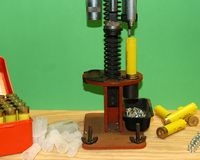 Reloading Bench. A sheet shooter's reloading bench for 20 guage shotgun shells Stock Photos