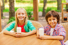 Reloading energy with fresh milk. Royalty Free Stock Photography