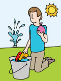 Reloading water gun and balloon. An image of a man reloading water gun and water balloon Stock Photography