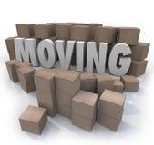 Relocalización móvil de las cajas de cartón de la palabra llena para ir stock de ilustración
