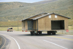 Relocated house on highway, Stock Image
