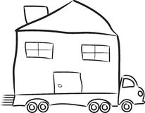 Relocating Home. Illustration of a house moving on the bed of a truck Stock Image