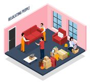 Relocating People Isometric Composition. With loaders carrying sofa from apartment, stacked home stuffs in boxes vector illustration Stock Image