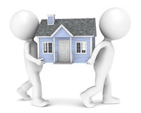 Relocation. 3D little human character X2 carrying a house. People series Stock Photography
