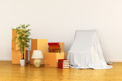 Relocation concept box in an empty room. 3d illustration Royalty Free Stock Images