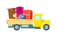 Freight truck with furniture vector icon. Relocation freight truck with furniture icon. Commercial shipping, transportation company badge with cargo truck Stock Image