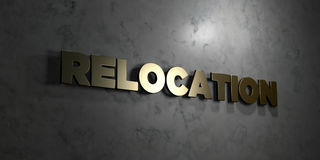 Relocation - Gold text on black background - 3D rendered royalty free stock picture. This image can be used for an online website banner ad or a print postcard Royalty Free Stock Photography