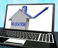 Relocation House Laptop Means Shifting And Change Of Residency. Relocation House Laptop Meaning Shifting And Change Of Residency Royalty Free Stock Images