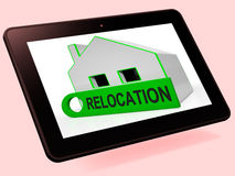 Relocation House Tablet Shows Move And Live Elsewhere Stock Images