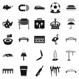 Relocation icons set, simple style. Relocation icons set. Simple set of 25 relocation vector icons for web isolated on white background Royalty Free Stock Photos