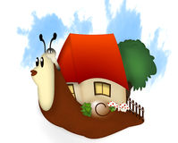 Relocation with an ingenious transport means. Snail carrying a house and garden on its back Stock Photography