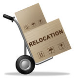 Relocation Package Means Change Of Residence And Carton Stock Photos