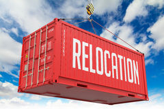 Relocation - Red Hanging Cargo Container. Stock Image