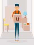Relocation service concept vector poster. Delivery man cartoon vector character. Man hold the cardboard box. Illustration in flat style design Stock Photography
