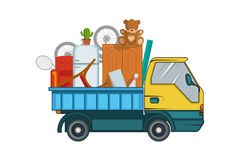 Relocation service. Moving concept. Cargo Truck is transporting. Delivery freight truck illustration. Transport company. For relocation and moving. Vector royalty free illustration