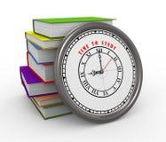 reloj 3d y libros - hora de estudiar Imagen de archivo