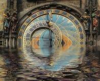 Reloj abstracto del zodiaco Foto de archivo libre de regalías