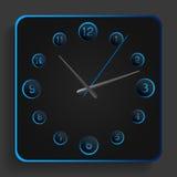 Reloj análogo con las luces de neón azules Fotografía de archivo