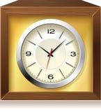 Reloj analogico retro en el rectángulo de madera, vector ilustración del vector