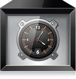 Reloj analogico retro en el rectángulo negro, vector detallado stock de ilustración
