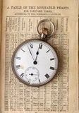 Reloj antiguo en calendario Imágenes de archivo libres de regalías