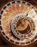 Reloj astronómico en la sepia entonada Foto de archivo libre de regalías