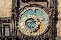 Reloj astronómico en Praga Fotos de archivo