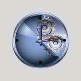 Reloj azul con la rueda dentada Fotos de archivo libres de regalías
