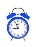 Reloj azul de la campana (despertador) Fotografía de archivo