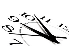 Reloj blanco que muestra tiempo cerca de nueve aislados Foto de archivo