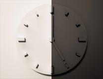 Reloj blanco y negro, 3d rendido, día y noche libre illustration