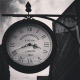 Reloj blanco y negro de Paddington Imagen de archivo