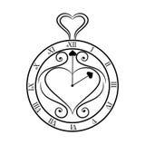 Reloj blanco y negro en un fondo blanco Imagen de archivo